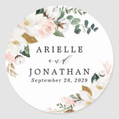 Blush Pink Gold and White Magnolia Floral Wedding Classic Round Sticker Wedding Labels, Wedding Favors, Wedding Invitations, Pink And Gold, Blush Pink, Snowflake Wedding, Magnolia Wedding, Peony Rose, Monogram Wreath