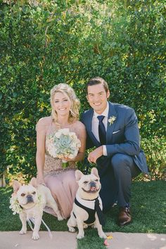 newlywed family portrait with the pups :) photo by Dave Richards http://ruffledblog.com/west-hills-california-wedding #pets #weddingportrait