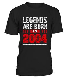CHECK OUT OTHER AWESOME DESIGNS HERE!  Legends Are Born in 2004 Tshirt Birthday Teenager Gift Idea for teens, Super cool vintage t-shirt for teenagers. 13 Thirteen years old teens tee is one of the best Birthday Tshirt for boys and Girls 13 year old birthday tshirt Teenager Thirteen 13 Awesome Birthday Shirt Legends Are Born in 2004 makes a great Birthday gift for a boy or a girl that was born in 2004 year. Your friend was born in 2004 year so this t-shirt is going to a perfect gift ...