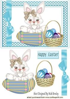 Easter bunny with basket of eggs on Craftsuprint - Add To Basket!