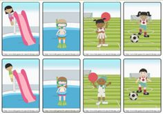 Speech Therapy: Verbs for Summer - (SVO Phrases) - {FREEBIE!} Great to use for friendship and social roles.  Use the field ad players for working with game rules!