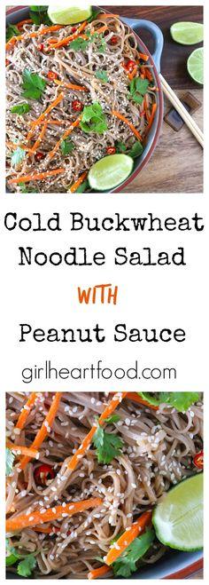Cold Buckwheat Noodle Salad with Peanut Sauce - girlheartfood.com #glutenfree #dairyfree #buckwheatnoodles #peanutsauce #salad #noodlesalad