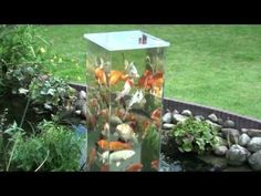 A fish observation tower for the pond.  This German guy made it so his koi can look out over the garden.  :)