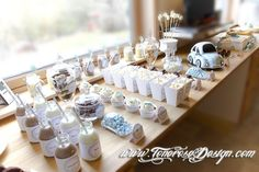 Christening, Place Card Holders, Table Decorations, Crafts, Wedding, Aqua, Sweet Tables, Dessert Tables, Party Ideas