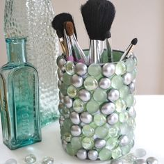 Create this bling storage pot for your bathroom