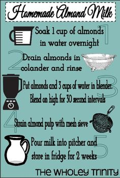 DIY Almond Milk #easy #dairyfree #infographic