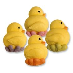 Multi Coloured Duck Sugar Decorations. Visit www.bettybaker.co.uk for more Easter cake decor.
