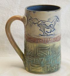 Stoneware galloping horse 16oz ceramic coffee mug by desertNOVA