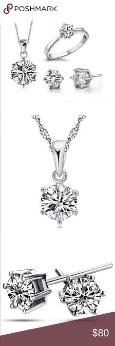 "❤️VALENTINE SPECIAL❤️ ❤️VALENTINE SPECIAL❤️ 18K WHITE GOLD PLATING WITH AAAA QUALITY CZ BUNDLE--  1 CARAT PENDENT & 18"" CHAIN--  1 CARAT STUD EARRINGS--- SINGLE SOLITAIRE RING SIZE 6 includes gift pouch for each Jewelry Necklaces"