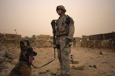 Sgt. Craig Walker and his working dog, Staff Sgt Carla of the 4th Infantry Division take a quick break in an open lot while searching for weapons caches. Iraqi national police and U.S. Soldiers from 64th Armored Cavalry Regiment, 4th Brigade, 3rd Infantry Division searched a mullalah in Risalah, Baghdad on Sep. 15, 2008, in order to document the local military aged males residing there.