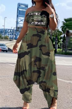 Camouflage Fashion, Camouflage Pants, Mode Kimono, Casual Outfits, Cute Outfits, Classy Outfits, Two Piece Pants Set, African Print Fashion, Wholesale Clothing