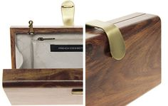 french connection wood clutch