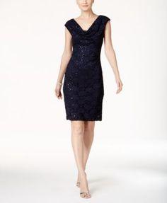 0e8a2269 Connected Sequined Lace Sheath Dress   macys.com Gray Dress, Navy Blue  Dresses,