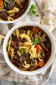 Crock Pot Beef and Noodle Soup ~ Easy Slow Cooker Beef Stew with the Addition of Pasta! Loaded with Stew Meat, Carrots, Celery, Mushrooms and Egg Noodles! Best Crockpot Recipes, Easy Chicken Recipes, Beef Recipes, Soup Recipes, Cooking Recipes, Healthy Recipes, Crockpot Meals, Recipes Dinner, Slow Cooker