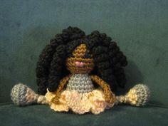 Mini Pocket Pal  Crochet African Doll Plush Afro by LeenGreenBean, $30.00
