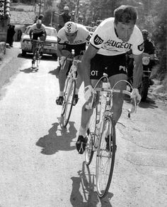 Simpson and Merckx put the hammer down, Paris Nice, 1967.  Classic Vintage Cycling