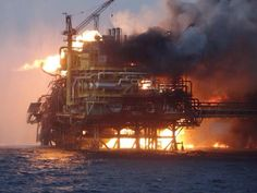 Fire on oil platform in gulf of Mexico 4/1/15