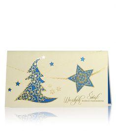 Kremowo - złoty oraz niebieski perłowy papier, złoty nadruk.