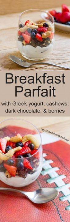 Yogurt and Cashew Br Yogurt and Cashew Breakfast Parfaits with...  Yogurt and Cashew Br Yogurt and Cashew Breakfast Parfaits with dark chocolate strawberries and blueberries are a great healthy breakfast with Perfectly Simple Bars #Feelgooder #ad