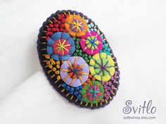 Color Textile Firework Brooch | Felt Brooch | Textile Art Jewelry | Idea for Gift | Creative Original Unusual Pin | Violet Purple Color
