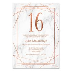 Shop Marble Birthday Invitation created by figtreedesign. 18th Birthday Party Themes, 15th Birthday Cakes, Sixteenth Birthday, Card Birthday, Sweet 16 Invitations, Custom Invitations, Birthday Invitations, Corporate Invitation, Pearl Party