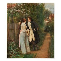 Shop Vintage Fine Art Poster created by KathiAnn. Victorian Paintings, Victorian Art, Romantic Paintings, Beautiful Paintings, Romance Arte, Art Romantique, Bloom Where Youre Planted, Art Ancien, Kunst Poster