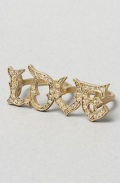 Disney Couture Jewelry The Love Antique Pave Double Finger Ring in Gold : Karmaloop.com - Global Concrete Culture