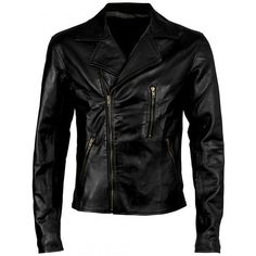 Handmade men black biker leather jacket, men Black biker leather jacket front zip pockets. Only $129.99