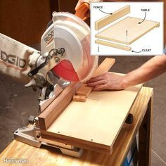 "Accurate Miter Saw Cuts - Clamp this small Baltic birch table to your miter saw when you want to cut a few short pieces to an exact length. The slot in the table's fence shows you precisely where the blade will cut—just mark the piece with a pencil and line up the mark with the slot. The slot has ""zero clearance,"" meaning there's no gap on either side of the blade. The slot in the table is zero clearance too. Zero-clearance slots reduce tear-out to an absolute minimum, eliminating…"