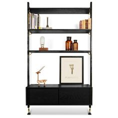 """The District Eight Theo Wall Unit with Drawer is made from oak and provides a great option if you need that extra storage space. It features three large solid oak shelves with soft edges throughout and solid and veneer oak cabinet with sliding doors. This fits seamlessly with other Theo units. Hard Fumed Oak w/ Matte Black HardwareCharred Oak Shelves w/ Black Steel Hardware Dimensions: 48.5″ x 17.8″ x 83″ Number of shelves: 3 Shelf thickness: 2"""" Box thickness: 0.8"""" Distance underside to… Wall Shelving Units, Oak Shelves, Modular Shelving, Large Shelves, Adjustable Shelving, Storage Shelves, Door Storage, Wall Units, Extra Storage Space"""