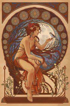 Prints Signs Woman and Bird Art Nouveau Lantern Press | Etsy