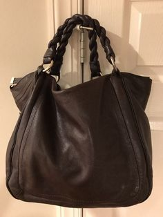 Banana Republic Brown Leather Bag Purse Hobo Crossover Braided #BananaRepublic #Hobo