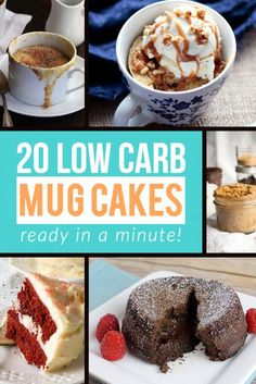 Who has time for preheating and refrigerating overnight? Make one of these single serve low carb mug cakes in under a minute and satisfy that sweet craving!