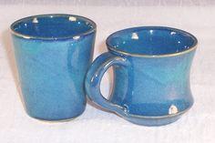 Ceramic Mug and Cup Set - Coffee Mug - Juice Cup - Cornflower Blue - Handmade Breakfast set - Wheel Thrown Mug - Stoneware Mug - Pottery Mug (45.00 USD) by ClaycrazyPottery