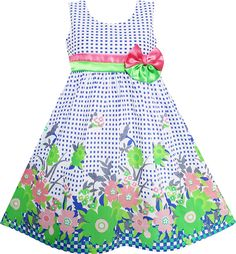Girls Dress Double Bow Tie Green Flower Children Clothes Size 4-12 NWT #SunnyFashion #Everyday