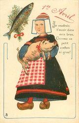 JE voudrais L'AVOIR DANS MES BRAS, Comme CE PETIT COCHON SI GRAS!  vis linksboven Nederlands meisje draagt varken in haar armen...........lbxxx.