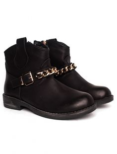 "Ghete ""Gold Step"" Black. Pret 64.90 lei. Biker, Ankle, Boots, Casual, Gold, Black, Fashion, Crotch Boots, Moda"