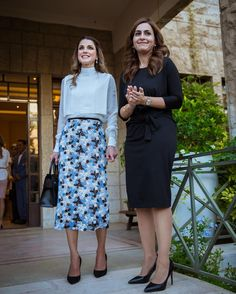 3 October 2016 - Queen Rania attends Jordan River Foundation's 21st annual handicrafts exhibition - blouse by Valentino, skirt by Erdem, bag by Givenchy