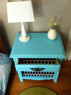 Project: Revive a bedside table with wall decal - Spoonflower blog