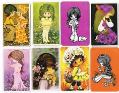 Swap cards from the I was obsessed with these as a little girl and spent hours sorting and arranging them. Vintage Playing Cards, Vintage Greeting Cards, Retro Illustration, Childhood Memories, Aurora Sleeping Beauty, Prints, Fun, Nostalgia, Sarah Kay