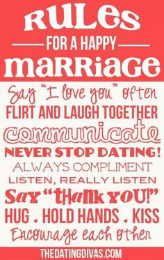 Love Quotes : QUOTATION – Image : Quotes Of the day – Description Rules for a happy marriage! What would you add to the list? Sharing is Caring – Don't forget to share this quote ! Marriage Relationship, Happy Marriage, Marriage Advice, Love And Marriage, Dating Advice, Successful Marriage, Healthy Marriage, Marriage Recipe, Healthy Relationships