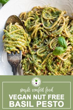 This Vegan Nut Free Basil Pesto is super quick to make for and easy lunch or dinner. Made with fresh basil, sunflower seeds, garlic, lemon juice, sea salt and extra virgin olive oil. Simple delciousness folded into your favourite pasta wound onto your fork! Pesto is perfect for meal prep and can also be spread over pizza or added to soups. Basil Pesto Vegan, Pesto Uses, Mushroom Cream Sauces, Pasta Sauce Recipes, Specialty Foods, Vegan Recipes, Vegan Food, Sunflower Seeds, Vegane Rezepte