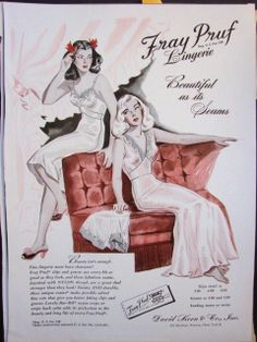 """1944 FRAY PRUF Rayon Crepe Slip NIGHTGOWN art vintage print AD """"Beautiful as its Seams"""" title"""
