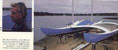 Document sans titre 1978 plan Newick. Prao atlantique, 12,80m 42', flotteur de la même longueur que la coque principale. 2 mats égaux, 1,5t, 2GV de 34m2 Construit aux USA par le skipper en 14 semaines en sandwich,