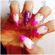 pink white heart , and purple sparkly glowing nails