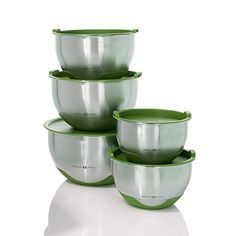 Simply Ming 10Piece Stainless Steel Mixing Bowl Prep and Storage Set  Green *** See this great product.