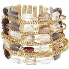 Gold square bead and chain bracelet ($18) ❤ liked on Polyvore
