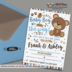 Blue and Brown Little Bear Baby Shower invitation - Blue and Brown Teddy Bear Baby Shower Theme Printable DIY Invitation- Personalized Invite card DIY party printables will save you time and money while making your planning a snap!