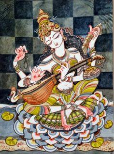 Durga Painting, Kerala Mural Painting, Indian Art Paintings, Saraswati Goddess, Goddess Art, Saraswati Mata, Tantra, Saraswati Picture, Madhubani Art