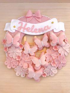 Baby Crafts, Felt Crafts, Diy And Crafts, Handmade Crafts, Felt Wreath, Felt Garland, Burlap Wreath, Felt Flowers, Fabric Flowers